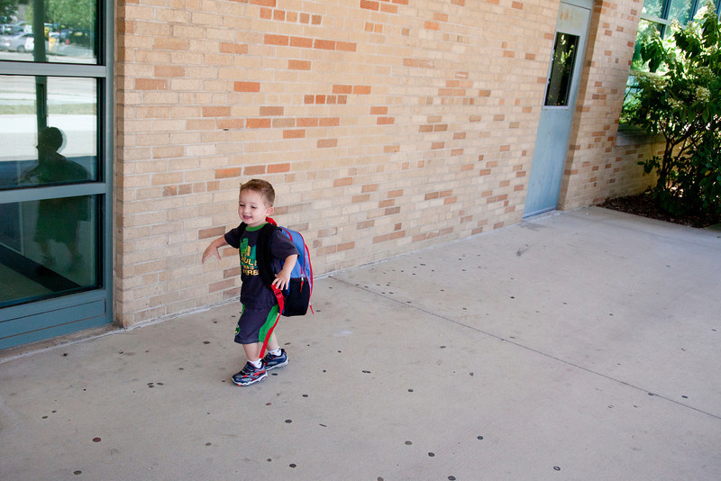 Hunter's first day of school at the Early Childhood Learning lab in the Buzzard Building on the campus of Eastern Illinois University in Charleston, Illinois on August 29, 2011. (Jay Grabiec)