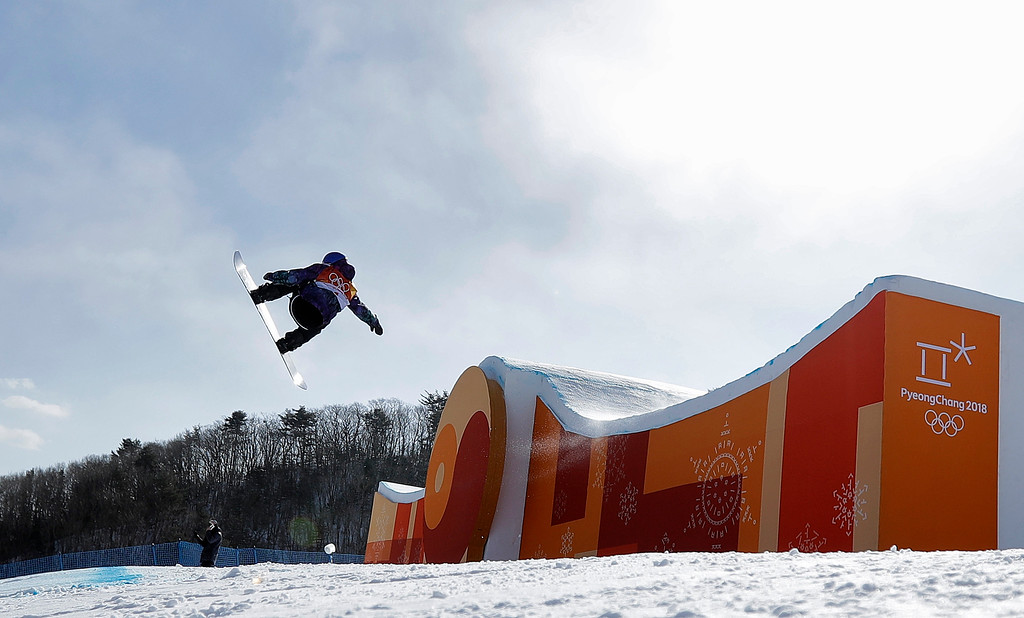 . Marcus Kleveland, of Norway, jumps during the men\'s slopestyle final at Phoenix Snow Park at the 2018 Winter Olympics in Pyeongchang, South Korea, Sunday, Feb. 11, 2018. (AP Photo/Gregory Bull)