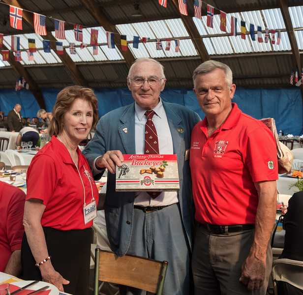 Judy and Ron presented Henri-Jean with...a box of Buckeyes!