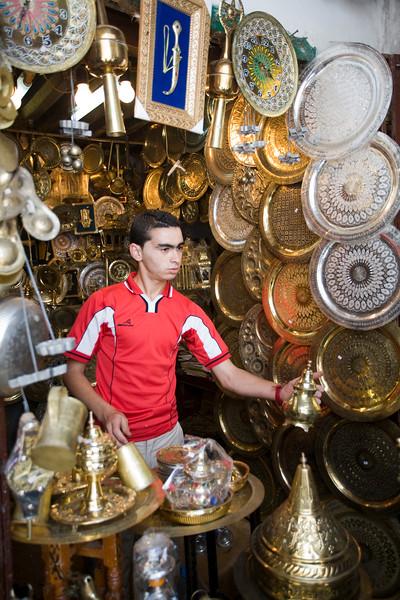 Brass and metalware shop in the souk, Tetouan medina, Morocco