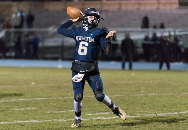 11/21/18 Wesley Bunnell | Staff Newington vs Wethersfield on Wednesday night at Newington High School. QB Nicholas Pestrichello (6) rolls right to pass.