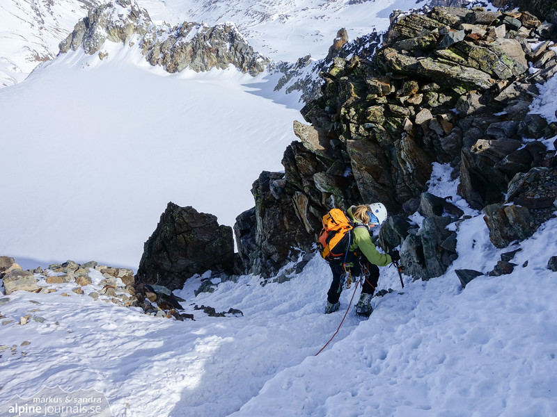 In good conditions like these, the steep sections are easy. There is a very short climbing section, but it is well belayed.