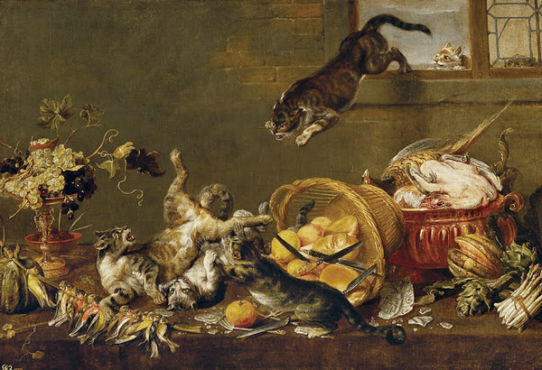 1663 Paul de Vos Cats in a Larder oil on canvas 116 x 172 cm Museo del Prado, Madrid, Spain.jpg