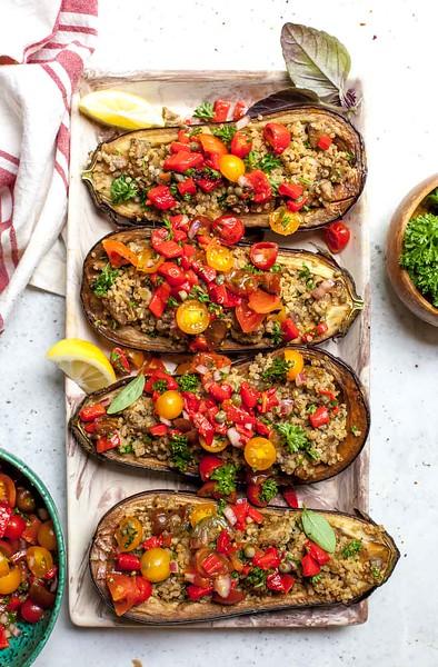 Eggplant Boats - Vegan Greek Recipes