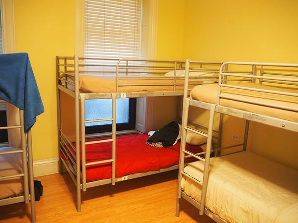 Bunk beds in a hostel dorm room