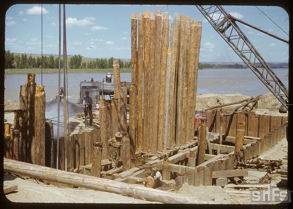 New bridge under construction. Sask. Landing 07/04/1950
