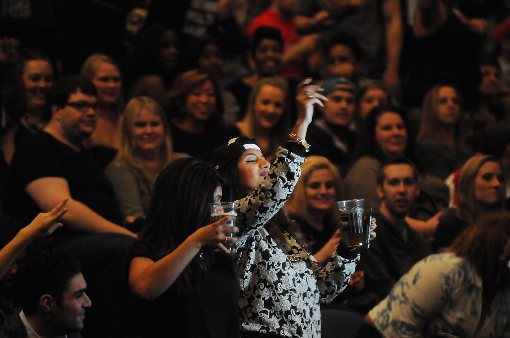 . A couple of fans of the Rapper Drake dance to music before Drake took the stage at the Target Center on  Sunday, December 8, 2013 in Minneapolis. (Pioneer Press: Sherri LaRose-Chiglo)