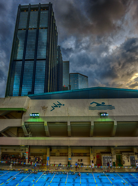Slice of HK life around the Wan Chai Swimming Pool.