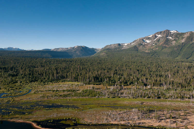View of Sierra Nevada Mountains near Lake Tahoe from the hot air balloon