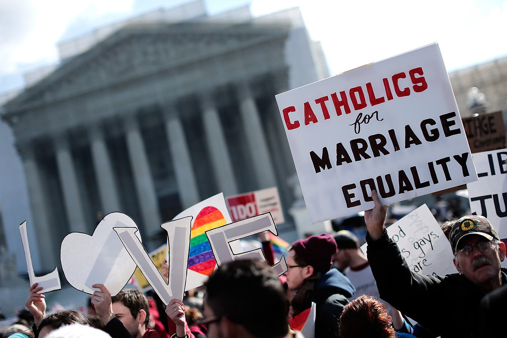 . Equal rights supporters demonstrate in front of the U.S. Supreme Court on March 26, 2013 in Washington, DC.  (Photo by Win McNamee/Getty Images)