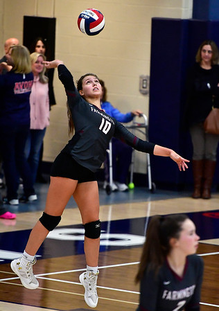 11/1/2018 Mike Orazzi | Staff Farmington High Schools Holly Picchioni (10) during the CCC Volleyball Tournament held at Avon High School Thursday night.