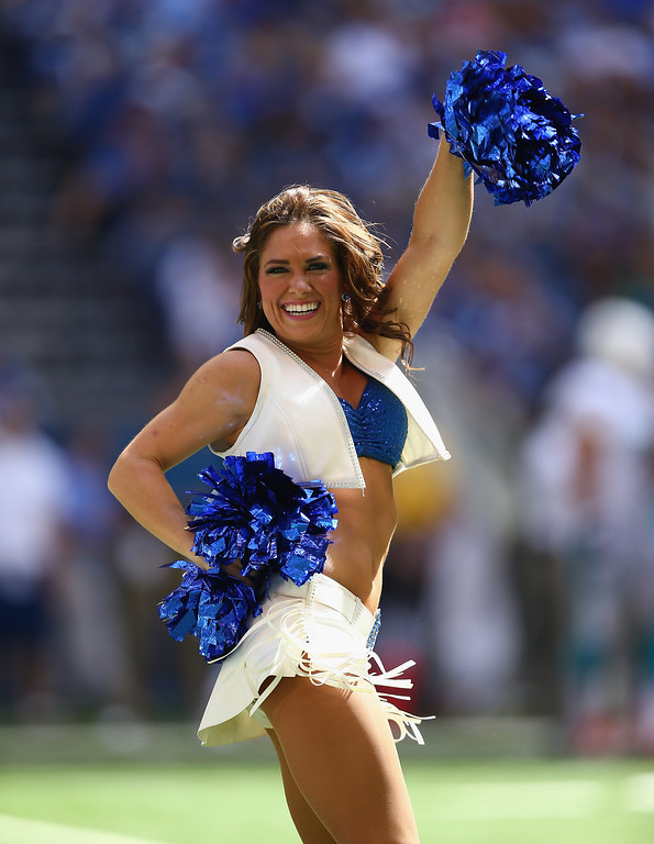 . Indianapolis Colts cheerleaders perform during the NFL game against the Miami Dolphins at Lucas Oil Stadium on September 15, 2013 in Indianapolis, Indiana.  (Photo by Andy Lyons/Getty Images)
