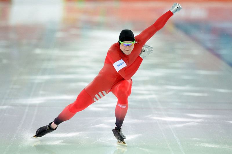 . Norway\'s Espen Hvammen competes in the Men\'s Speed Skating 1000 m at the Adler Arena during the Sochi Winter Olympics on February 12, 2014. (ANDREJ ISAKOVIC/AFP/Getty Images)