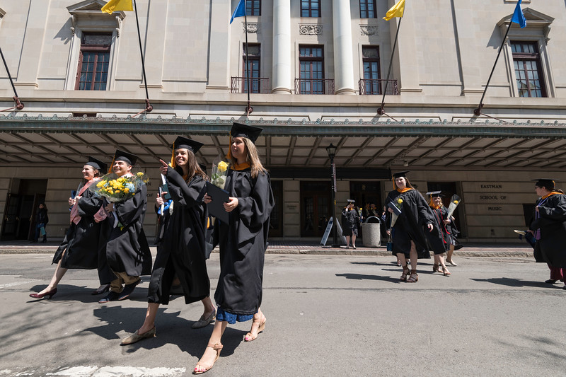 Graduates walk out of Kodak Hall after the ceremony. // University of Rochester School of Nursing Commencement, Kodak Hall at Eastman Theatre May 17, 2019.  // photo by J. Adam Fenster / University of Rochester