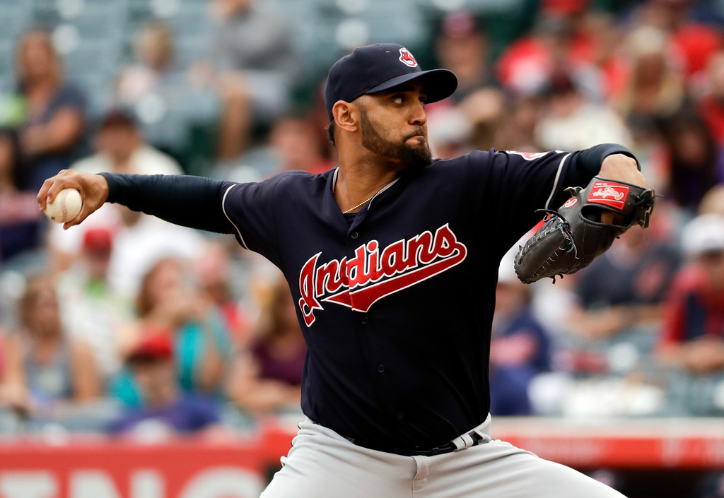. Cleveland Indians starting pitcher Danny Salazar throws against the Los Angeles Angels during the first inning of a baseball game in Anaheim, Calif., Thursday, Sept. 21, 2017. (AP Photo/Chris Carlson)