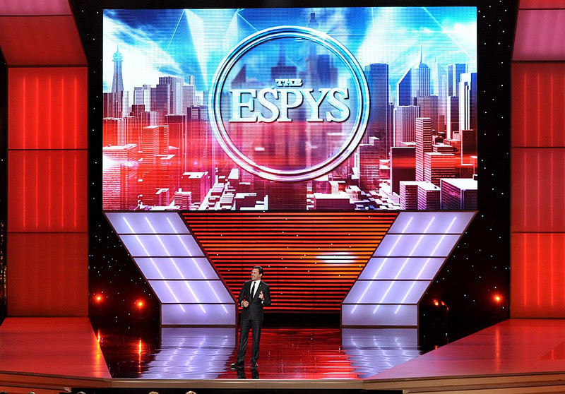 . Jon Hamm speaks on stage at the ESPY Awards on Wednesday, July 17, 2013, at Nokia Theater in Los Angeles. (Photo by John Shearer/Invision/AP)