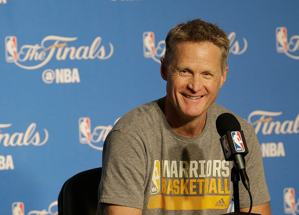 . Golden State Warriors head coach Steve Kerr smiles while speaking at a news conference before Game 2 of basketball\'s NBA Finals between the Warriors and the Cleveland Cavaliers in Oakland, Calif., Sunday, June 4, 2017. (AP Photo/Jeff Chiu)