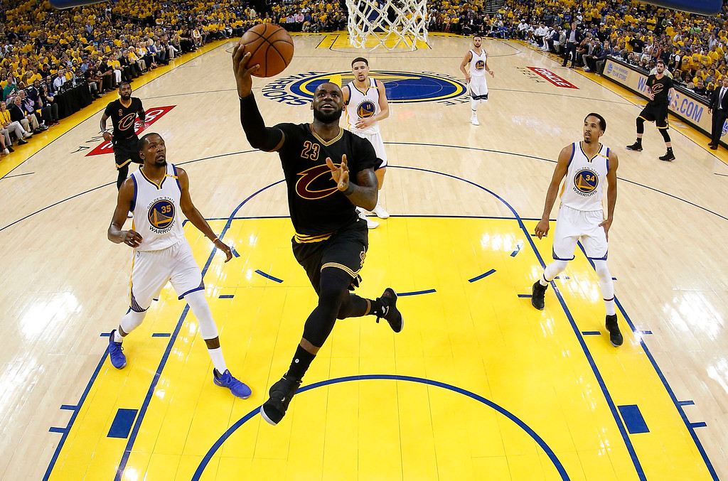 . Cleveland Cavaliers forward LeBron James (23) shoots against the Golden State Warriors during the first half of Game 2 of basketball\'s NBA Finals in Oakland, Calif., Sunday, June 4, 2017. (John G. Mabanglo/Pool Photo via AP)