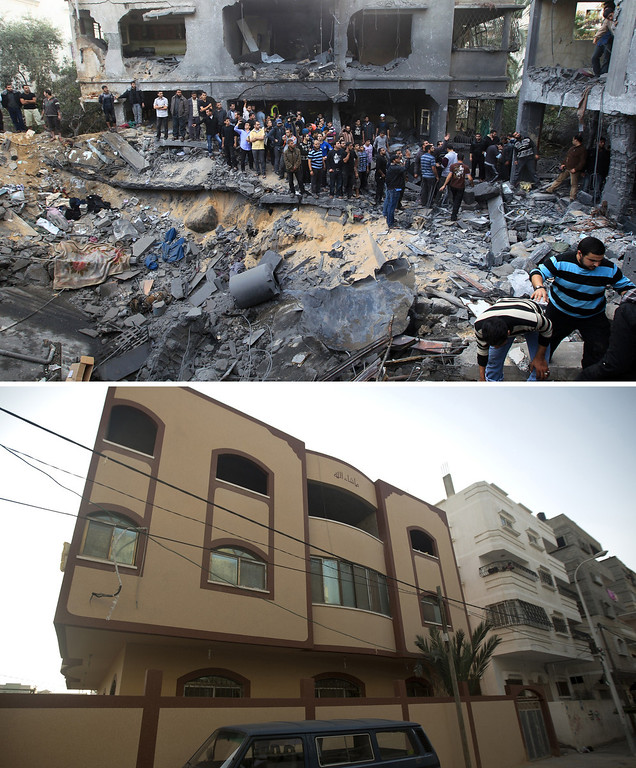 . This combination made on November 14, 2013, shows a file picture taken on November 18, 2012 of a destroyed house belonging to the al-Dallu family following an Israeli air strike in Gaza City and a picture taken on November 13, 2013, showing the same building following its reconstruction a year after the Israeli army operation which was launched on Gaza following the killing of top Hamas military commander Ahmed Jaabari in an air strike in November 2012. AFP PHOTO / MAHMUD HAMS/AFP/Getty Images