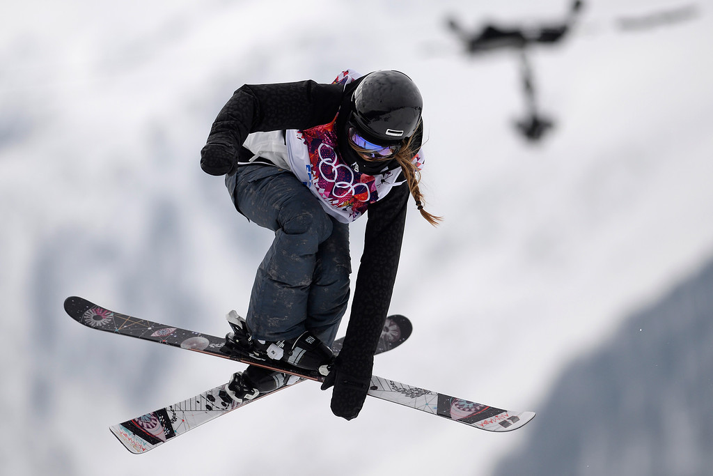 . Germany\'s Lisa Zimmermann makes a grab during the women\'s ski slopestyle qualifier. Sochi 2014 Winter Olympics on Tuesday, February 11, 2014. (Photo by AAron Ontiveroz/The Denver Post)