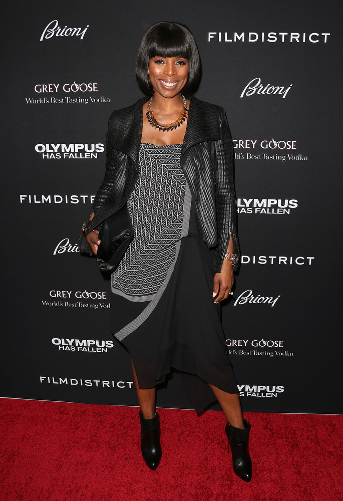 """. Actress Tasha Smith attends the Premiere of FilmDistrict\'s \""""Olympus Has Fallen\"""" at the ArcLight Cinemas Cinerama Dome on March 18, 2013 in Hollywood, California.  (Photo by Frederick M. Brown/Getty Images)"""