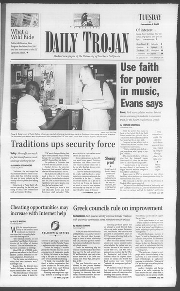 Daily Trojan, Vol. 144, No. 64, December 04, 2001