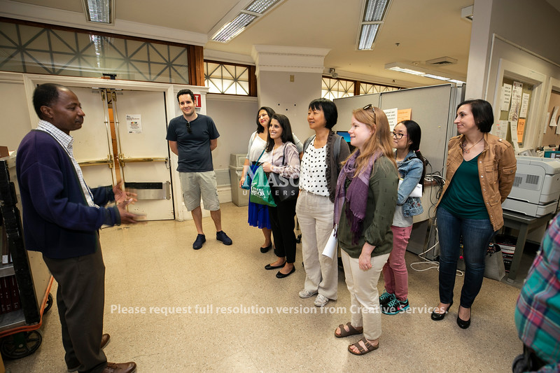 Mason students get a private tour and a clinic on using research materials at the Library of Congress in Washington, D.C..  Photo by:  Ron Aira/Creative Services/George Mason University