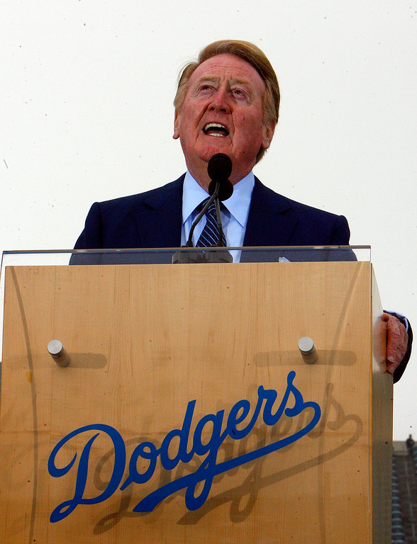 . Dodger broadcaster Vin Scully talks about the Dodgers and Joe Torre at Dodger Stadium on November 5, 2007. (Pasadena Star-News Staff Photo Keith Birmingham)