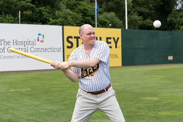 07/02/19 Wesley Bunnell | Staff The New Britain Bees welcomed group home members to New Britain Stadium as part of the Beautiful Lives Project on Tuesday July 2, 2019.Bees players and coaches played wiffle ball games on the outfield grass with the participants. Bill Lewis with the Journey Found program with his turn at bat.