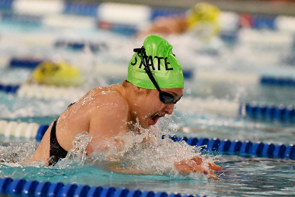 . Fossil Ridge\'s Bailey Kovac won the 100 Yard Breaststroke at the girls 5A State Swim meet held at Edora Pool and Ice Center on Saturday. (Photo by Kira Horvath/ The Denver Post)