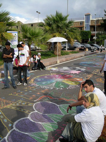 at a youth street painting event in Byblos