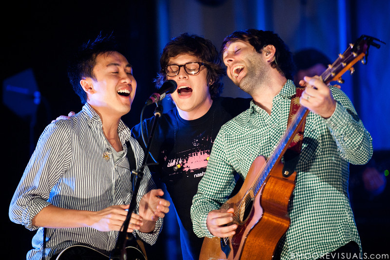 Hai Phung, Joe Moralez, and Stephen Mason sing together on the opening song during An Evening with Brandon Heath and Jars of Clay on October 23, 2010 at Countryside Christian Center in Clearwater, Florida