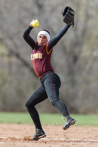 Sheehan's Missy Pereira (19) delivers a pitch during a game with Lyman Hall Monday at Lyman Hall High School in Wallingford  Apr. 27, 2015 | Justin Weekes / For the Record-Journal