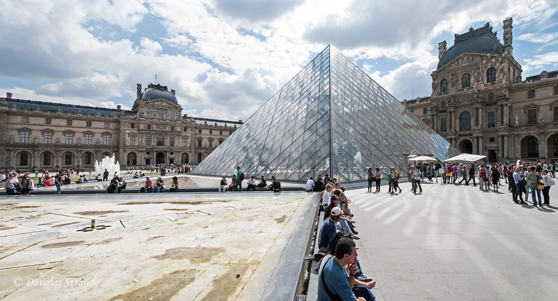 The glass pyramid from outside at the Louvre
