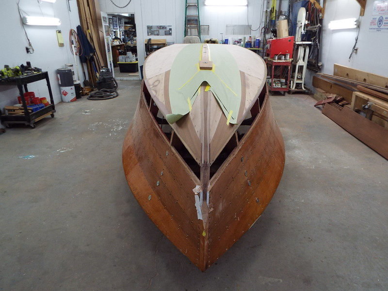 View from the bow with keel cap fit ready to epoxy in place.