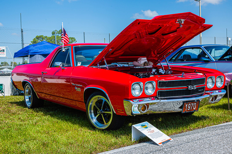 A 1970 El Camino owned by Glenn Travers of Jupiter Florida t the Super Chevy Show at Palm Beach International Raceway on Saturday, May 25, 2019. [JOSEPH FORZANO/palmbeachpost.com]