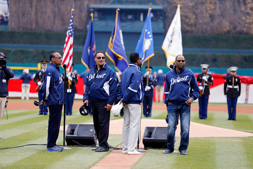 . The Four Tops are seen after singing the national anthem before an opening day baseball game between the Detroit Tigers and the Minnesota Twins in Detroit, Monday, April 6, 2015. (AP Photo/Carlos Osorio)