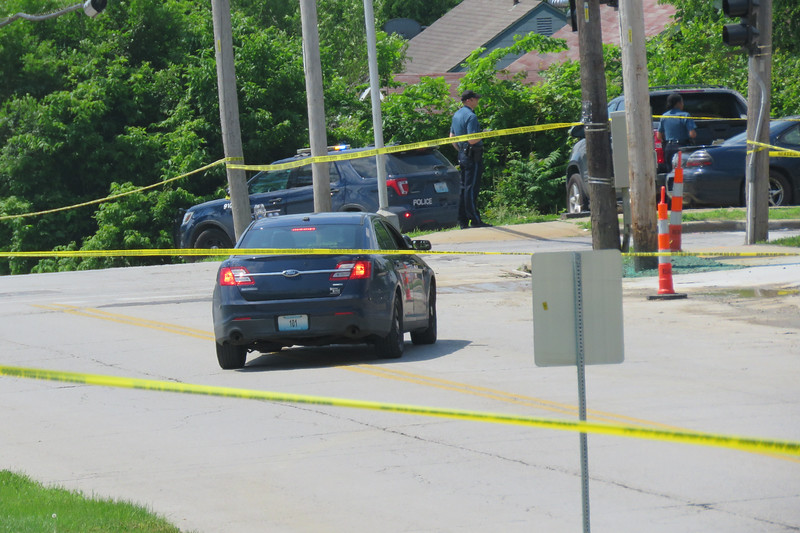 Kansas City Police investigate a shooting at 43rd Street and Cleveland Avenue on June 2, 2021.