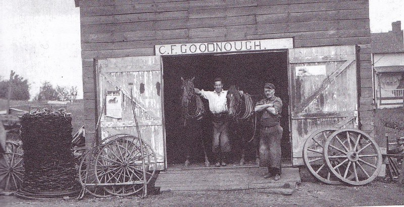 Charles Goodnough had this Blacksmith shop on route 420 (beside Gurtin's Hardware Store) in the early nineteen hundreds. It was later added on to and became Guy Taylor's Garage and after that the Winthrop Fire Station. The Goodnough/Gurtin lots are presen