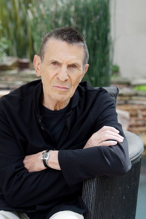 """. Leonard Nimoy is seen in his Los Angeles home Thursday, April 23, 2009. Nimoy says he would be onboard for more \""""Star Trek.\"""" After a 19-year absence, Nimoy reprises his iconic role as Mr. Spock in director J.J. Abrams\' new \""""Star Trek\"""" prequel opposite Zachary Quinto, who stars as a younger version of the half-Vulcan, half-human science officer. (AP Photo/Reed Saxon)"""