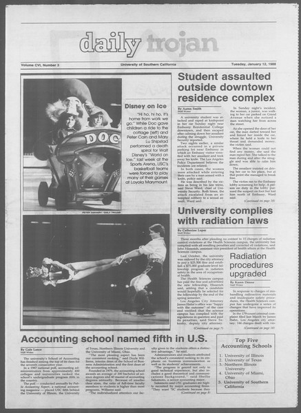 Daily Trojan, Vol. 106, No. 3, January 12, 1988
