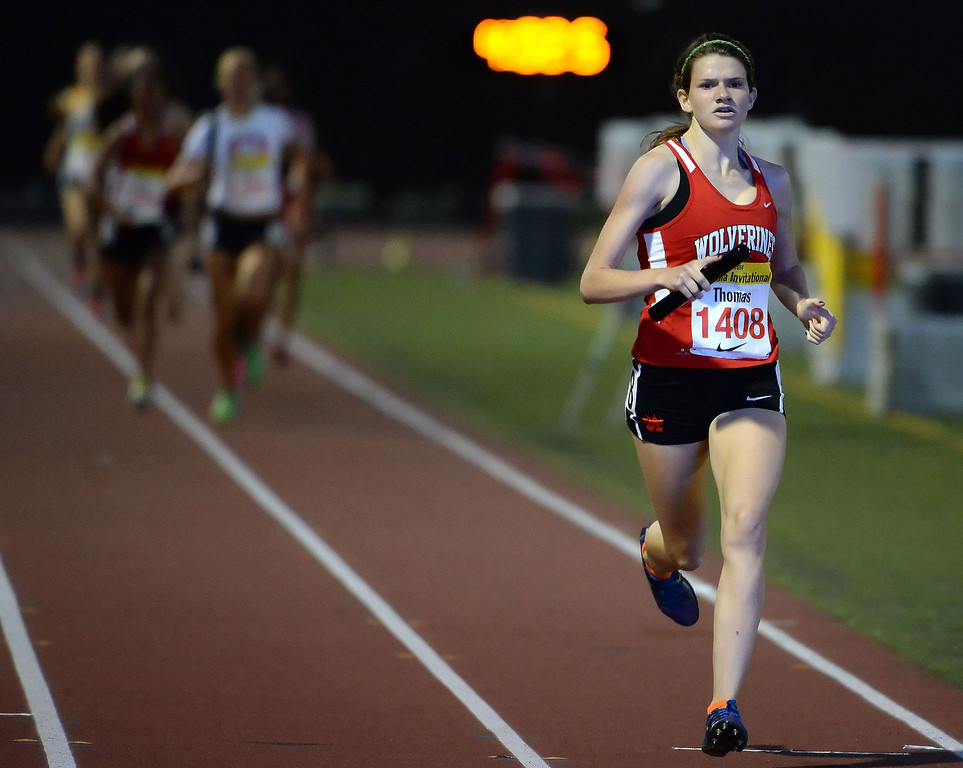 . Harvard-Westlake\'s Lizzy Thomas competes in the 4x1600 Meter relay Seeded during the Arcadia Invitational track and field meet at Arcadia High School in Arcadia, Calif., on Friday, April 11, 2014.  (Keith Birmingham Pasadena Star-News)