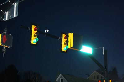 RR Light on Traffice Light, North Railroad St, Tamaqua (3-3-2012)