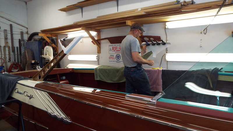 Another view of the upholstery being installed.