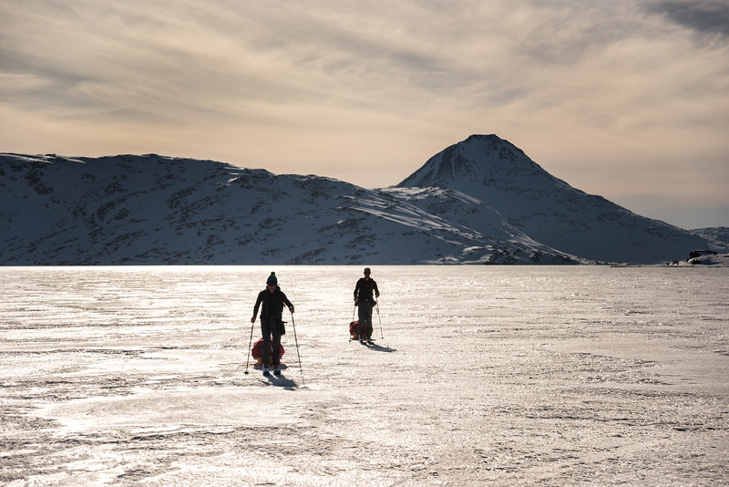 Seb Ramsay and Chris Ball on the sea ice, East Greenland