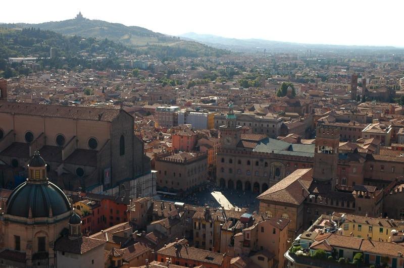 Aerial View of Piazza Maggiore - Bologna, Italy