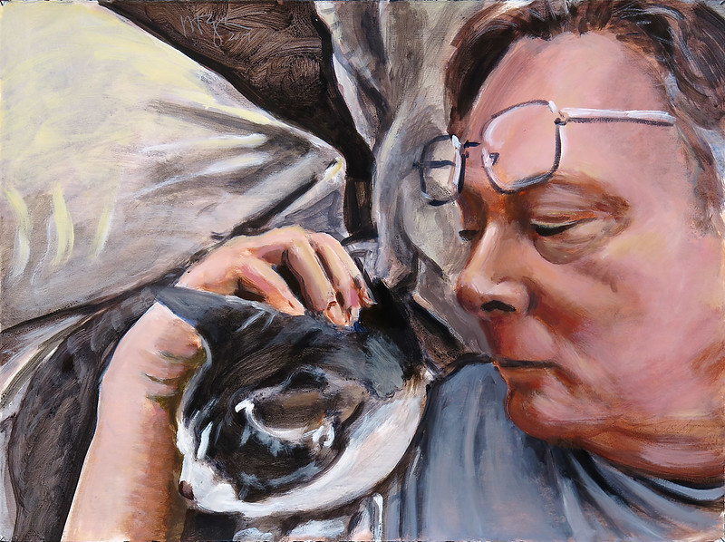 Self-portrait with Baxter (v1), acrylic on paper, 22 x 30 in, 2017