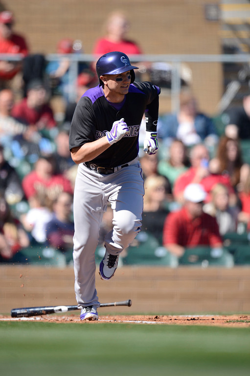. SCOTTSDALE, AZ. - FEBRUARY 23: Troy Tulowitzki (2) of the Colorado Rockies heads to first on a ground out in the first inning against the Arizona Diamondbacks February 23, 2013 in Scottsdale. (Photo By John Leyba/The Denver Post)