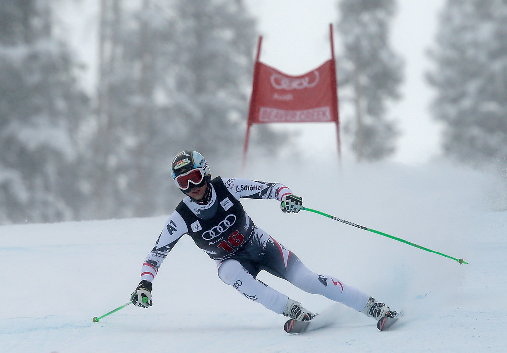 . Hannes Reichelt of Austria skis during the FIS Beaver Creek Men\'s Downhill World Cup race on December 6, 2013 in Beaver Creek, Colorado.  (Photo by Ezra Shaw/Getty Images)