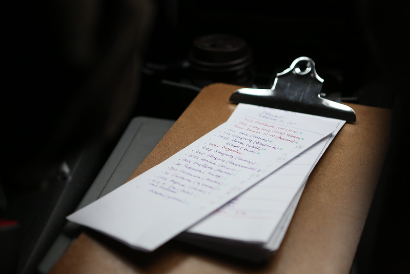 Michael Rover's clipboard, with the list of house calls to make throughout the day.